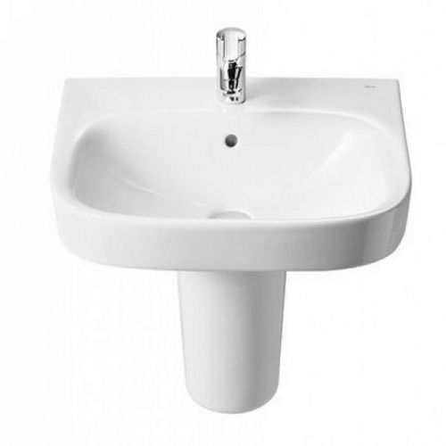 Roca Debba Square Basin With Semi Pedestal - 400mm - 1 Tap Hole - White